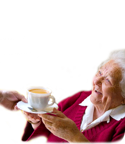 image of lady with cup of tea