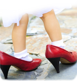 image of young girl in ladies shoes