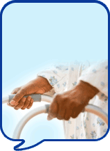 image of hands on walking frame